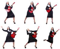The nun with guitar isolated on white Royalty Free Stock Photos