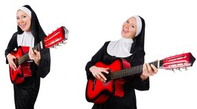 The nun with guitar isolated on white Stock Image