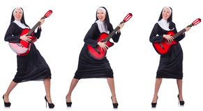 The nun with guitar isolated on white Royalty Free Stock Images