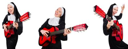 The nun with guitar isolated on white Stock Photos