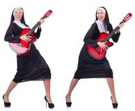 The nun with guitar isolated on white Royalty Free Stock Photography