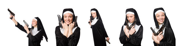 The nun with gun isolated on white Royalty Free Stock Photo