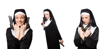 The nun with gun isolated on white Royalty Free Stock Images