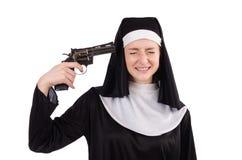 Nun with handgun isolated Stock Image