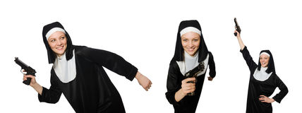 The nun with handgun isolated on white Royalty Free Stock Image
