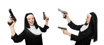 The nun with handgun isolated on white Royalty Free Stock Photography