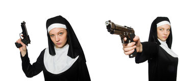The nun with handgun isolated on white Royalty Free Stock Photos