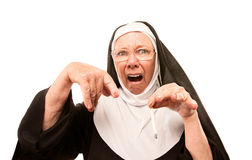Nun horrified by cigarette Royalty Free Stock Images