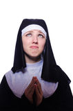 The nun isolated on the white background Royalty Free Stock Images