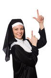 The nun isolated on the white background Stock Images