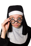 The nun isolated on the white background Royalty Free Stock Photos