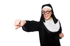 The nun isolated on the white background Royalty Free Stock Photography