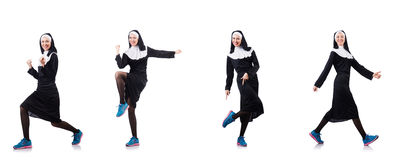 The nun isolated on the white background Royalty Free Stock Photo