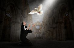 Nun, Church, Peace, Hope, Love, Religion, Christianity stock illustration