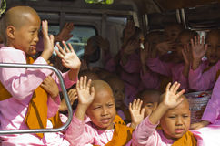 Nun Monks in van greet people Royalty Free Stock Photography