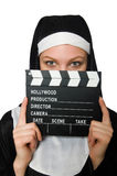 Nun with movie board isolated Royalty Free Stock Photo