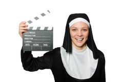 Nun with movie board isolated Royalty Free Stock Photos