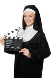 Nun with movie board Royalty Free Stock Photography