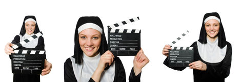 The nun with movie board isolated on white Royalty Free Stock Photos