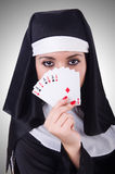 Nun playing cards Royalty Free Stock Images
