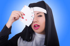 Nun playing cards Royalty Free Stock Photography