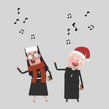 Nun and priest singing.3D stock illustration