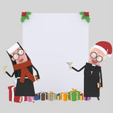 Nun and priest toasting banner.3D Royalty Free Stock Image