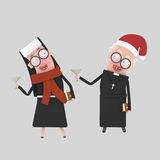 Nun and priest toasting with champagne celebrating Chritsmas.3D Royalty Free Stock Photos