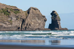 Nun Rock at Piha beach Stock Photos