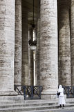 Nun to the columns of the Vatican Royalty Free Stock Photo