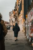 Nun walking on a street royalty free stock photography
