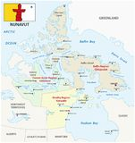 Nunavut administrative and political vector map with flag.  Royalty Free Stock Photo