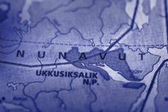 Nunavut en mapa Fotografía de archivo