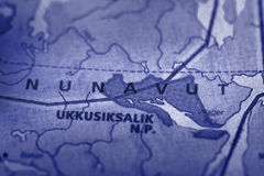 Nunavut sur la carte Photographie stock