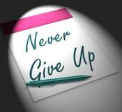 Nunca abandone la determinación y la motivación de las exhibiciones del cuaderno ilustración del vector