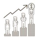 Nunca abandone, los pobres al millonario, crecimiento del negocio para arriba, cómo al éxito stock de ilustración