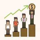 Nunca abandone, los pobres al millonario, crecimiento del negocio para arriba, cómo al gráfico del icono del éxito ilustración del vector