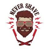 Nunca barbeie Ilustração do vetor Imagem de Stock Royalty Free