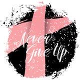 Nunca dê acima Citações do sinal sobre a conscientização do câncer da mama Imagens de Stock