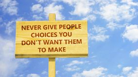 Nunca dê escolhas dos povos ilustração royalty free