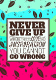 Nunca dê acima, onde há um amor e uma inspiração Imagens de Stock