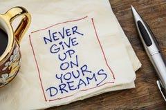 Nunca dê sonha acima Foto de Stock Royalty Free