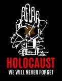 Nunca olvidaremos Día de la conmemoración del holocausto Estrella amarilla David Día internacional de campos de concentración y d libre illustration