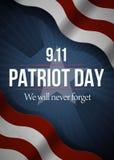 Nunca olvidaremos 9 fondo del día de 11 patriotas, bandera americana raya el fondo Patriota día 11 de septiembre de 2001 Fotos de archivo libres de regalías