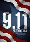 Nunca olvidaremos 9 fondo del día de 11 patriotas, bandera americana raya el fondo Patriota día 11 de septiembre de 2001 Fotografía de archivo