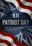 Nunca olvidaremos 9 fondo del día de 11 patriotas, bandera americana raya el fondo Patriota día 11 de septiembre de 2001 Imagen de archivo libre de regalías