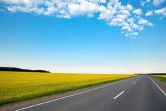 Nunca terminando a estrada através dos campos e do azul verdes Foto de Stock