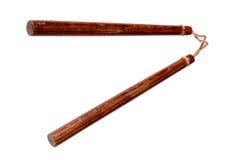 nunchaku冲绳传统武器 免版税库存图片
