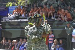Nunchaku. Army soldiers demonstrating fights with haunch in the city of Solo, Central Java, Indonesia stock image