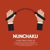 Nunchaku. Hand Holding A Nunchaku Illustration Royalty Free Stock Photo